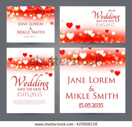 Wedding Invitation Cards Template Set with Heards and Bokeh Elements. Vector illustration - stock vector