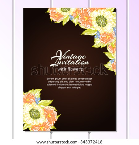 Wedding invitation cards with floral element