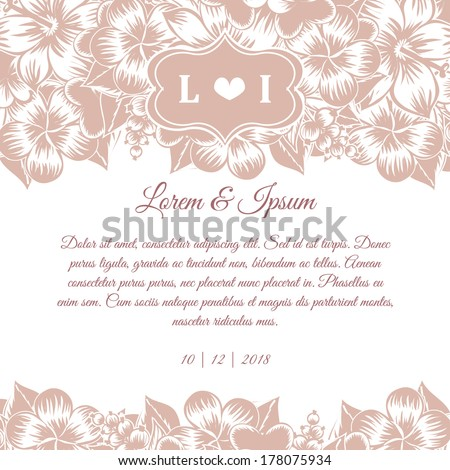Wedding invitation cards with floral elements. - stock vector