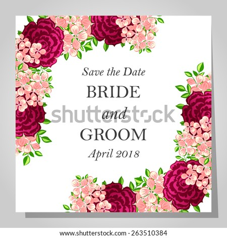 Wedding invitation cards with floral elements - stock vector