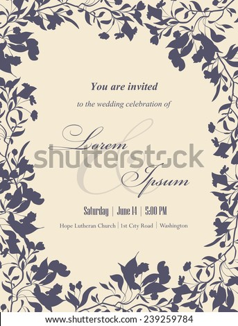 Wedding Invitation Cards With Floral Elements. Floral Frame And Place For  Your Text. Use