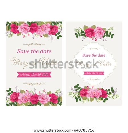 Wedding invitation cards flower use boarding stock vector 640785916 wedding invitation cards with flower use for boarding pass invitations thank you stopboris Images