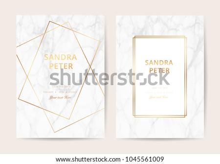 Wedding invitation cards marble texture background stock vector wedding invitation cards with marble texture background and gold geometric line design vector stopboris Images