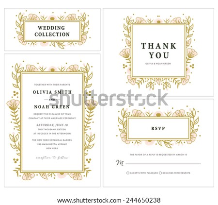 Wedding Invitation Collection with Floral Frame - stock vector