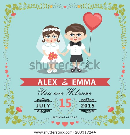 Wedding invitation design template with baby couple.Cartoon baby Bride, groom ,floral frame and ribbons.For Invitation, save the date card.Vector illustration.Retro style, vintage.