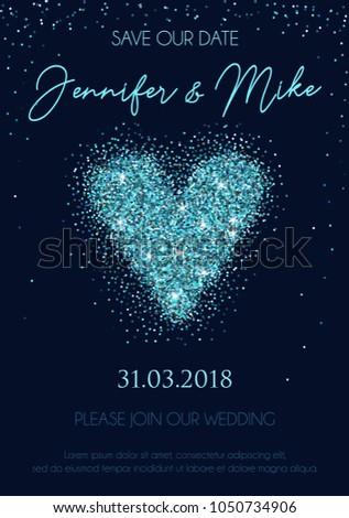 Wedding Invitation Design Template Glitter Heart Vector De