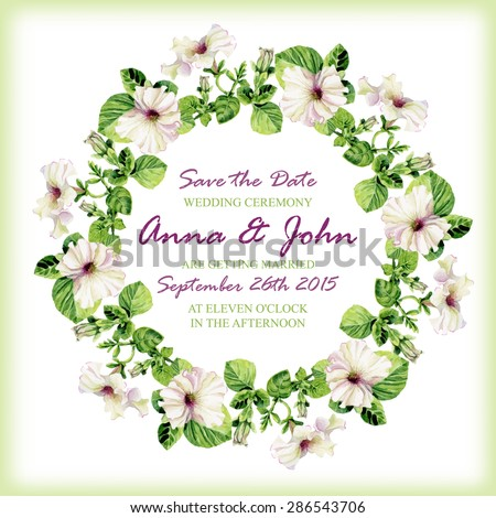 Wedding invitation design template watercolor floral stock vector wedding invitation design template with watercolor floral circular frame vector background for special occasions stopboris Images