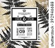 Wedding invitation design with typography template for text and fern leaves silhouettes.  Marriage theme with black and gold floral motif. Vector illustration. Save the date card. - stock vector