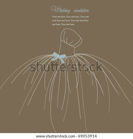 Wedding invitation, dress with bow