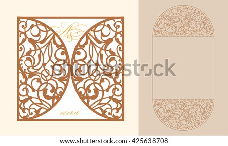 Laser cut invitation card laser cutting stock vector for Free laser cutter templates