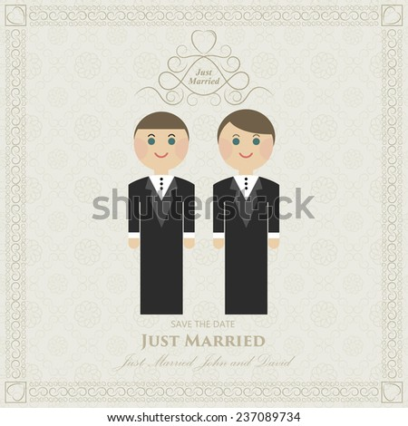 wedding invitation flat gay. wedding card flat. Gay marriage - stock vector