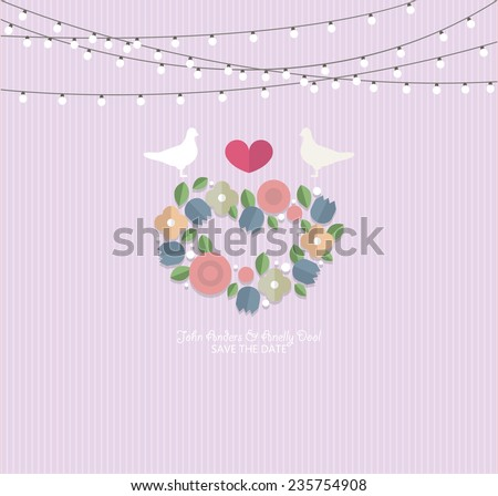 Wedding invitation flat. Guests flat background. Invitation for bridesmaids. Wedding Card Invitation  - stock vector