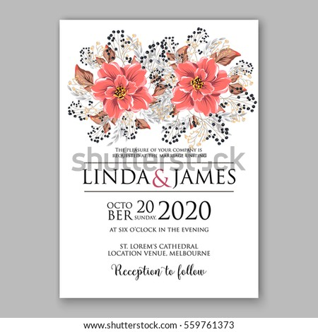 wedding invitation floral bridal shower invitation wreath with pink flowers anemone peony wild privet