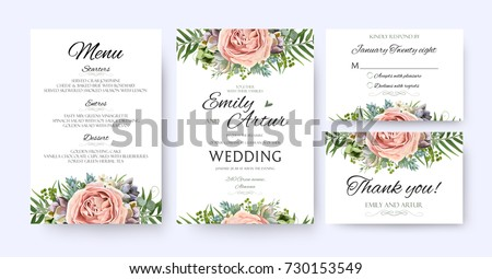 Wedding Invitation Floral Invite Card Design Stock Vector 730153549 - Shutterstock