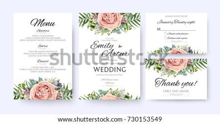 Wedding Invitation Floral Invite Card Design Stock Vector 730153549 - Shutterstock