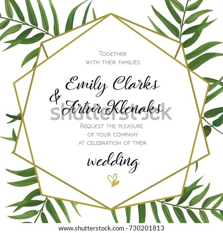 Vetor stock de wedding invitation floral invite card design livre wedding invitation floral invite card design with green tropical forest palm tree leaves forest stopboris Image collections