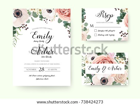 Wedding Invitation Floral Invite Rsvp Cute Stock Vector 738424273