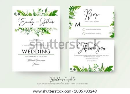 Wedding invitation floral invite thank you stock vector 1005703249 wedding invitation floral invite thank you rsvp modern card design green fern stopboris Images