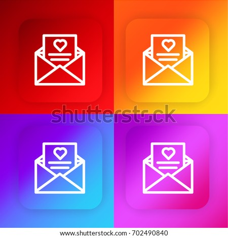 wedding invitation four color gradient app stock vector 702490840