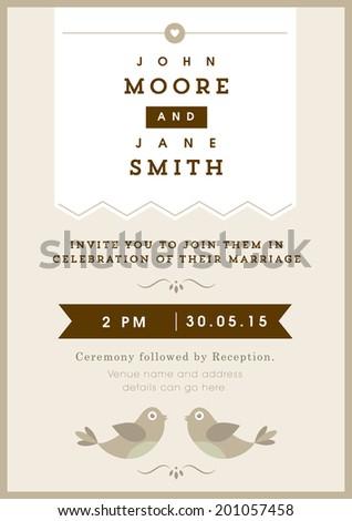 Wedding invitation gold love bird theme - stock vector