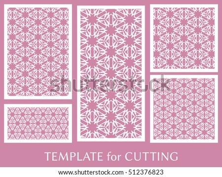 Wedding Invitation Greeting Card And Business Template Set Cut Out Paper Cards With
