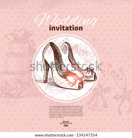 Wedding invitation. Hand drawn illustration - stock vector