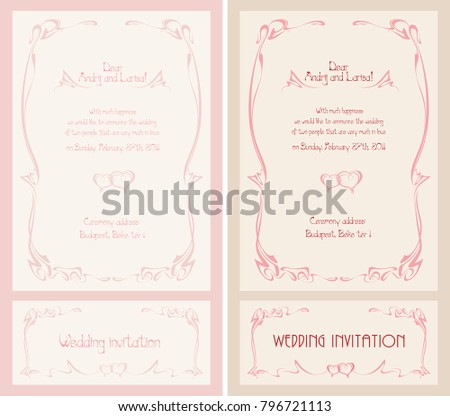 Wedding Invitation Art Nouveau Style Valentines Stock Vector