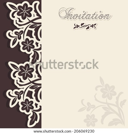 Wedding invitation in classical style. Text space with example. Elegant invitation card in classical style