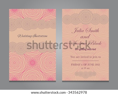Wedding invitation in romantic style. Vector templates with floral decorative ornament. Vintage design