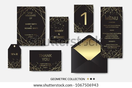 Wedding invitation invite card design geometrical stock vector wedding invitation invite card design with geometrical art lines gold foil border frame stopboris Choice Image