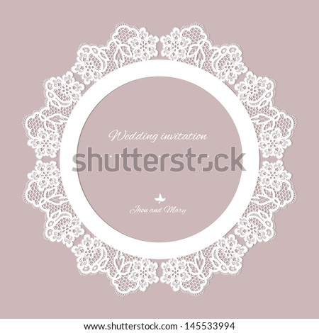 Wedding invitation. Lace background with a place for text. Vintage lace vector design realistic - stock vector