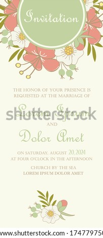 Wedding invitation or announcement card with beautiful hand drawn flowers. Vector illustration