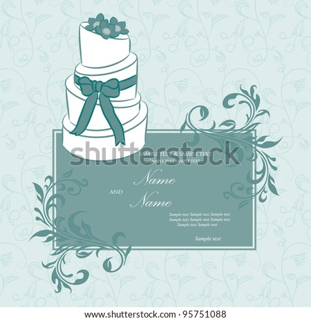 Wedding invitation or announcement with wedding cake. Vector illustration.