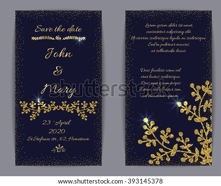 Wedding invitation or banner templates, vector golden glittering design. Dark creative background with hand drawn floral elements. Business template. Flyer, menu, greeting card trendy design.