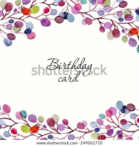 Wedding invitation or birthday card. Floral frame. Watercolor background with flowers. - stock vector