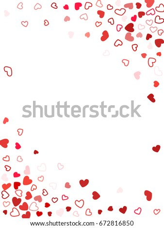 wedding invitation or birthday greeting card template vector heart confetti border with place for text
