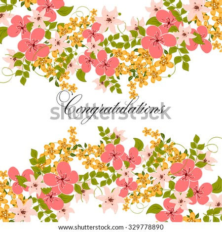 Wedding Invitation or  card with floral  - stock vector