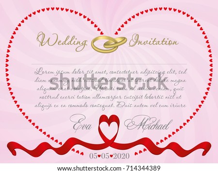 Wedding invitation card ribbon form heart stock vector 714344389 wedding invitation or card with ribbon form of a heart and a contour of the heart stopboris Gallery