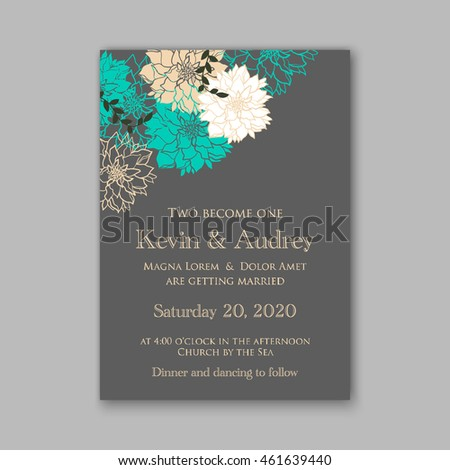 Wedding  invitation or card  with tropical floral background. Greeting postcard in grunge retro vector Elegance pattern with flower rose  illustration vintage style Valentine's day card Luau Aloha