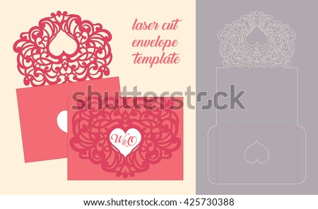 Wedding invitation or greeting card with abstract ornament. Vector envelope template for laser cutting.  Paper cut card with silhouette.  - stock vector