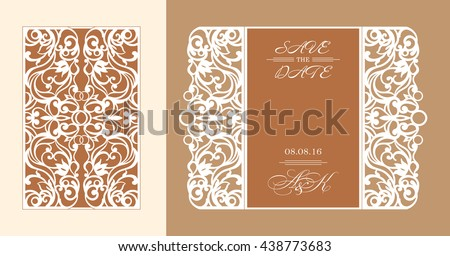 Wedding invitation or greeting card with abstract ornament. Vector envelope template for laser cutting.  Paper cut card with silhouette. Cutout silhouette panel. Cutting file. - stock vector