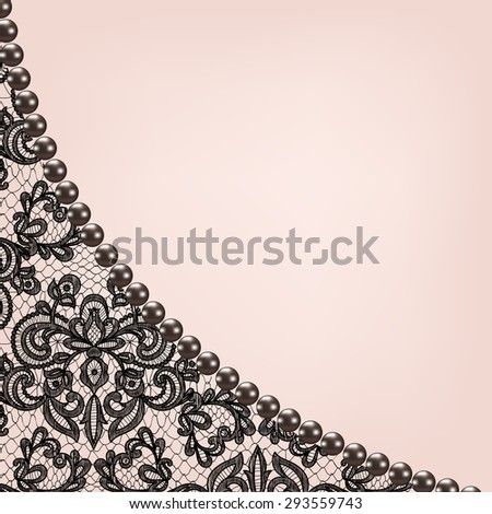 Wedding invitation or greeting card with black lace background border
