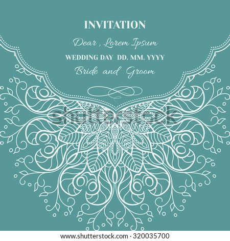 Wedding invitation or greeting card with floral ornament on blue background. - stock vector