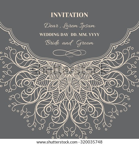 Wedding invitation or greeting card with floral ornament on dark background. - stock vector
