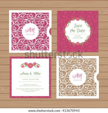 Wedding invitation greeting card flower ornament stock vector wedding invitation or greeting card with flower ornament cut laser square envelope template wedding stopboris Gallery