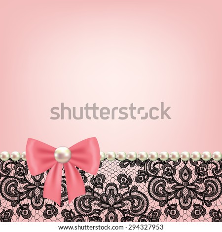 Wedding invitation or greeting card with pearl frame on lace background