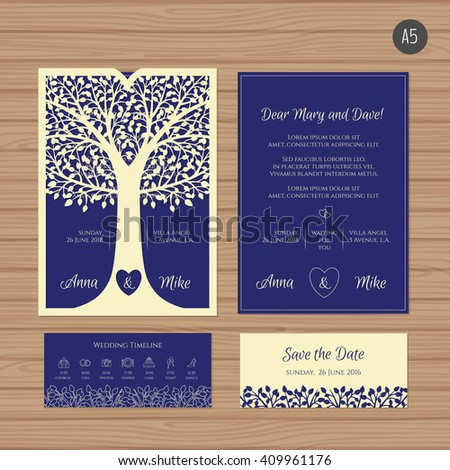 Wedding invitation greeting card tree paper stock vector 409961176 wedding invitation or greeting card with tree paper lace envelope template wedding invitation envelope stopboris Images
