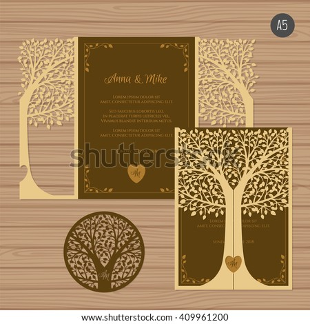 Wedding invitation or greeting card with tree. Paper lace envelope template. Wedding invitation envelope mock-up for laser cutting. Vector illustration. - stock vector