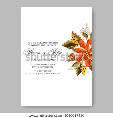 wedding invitation orange dahlia daisy floral stock vector