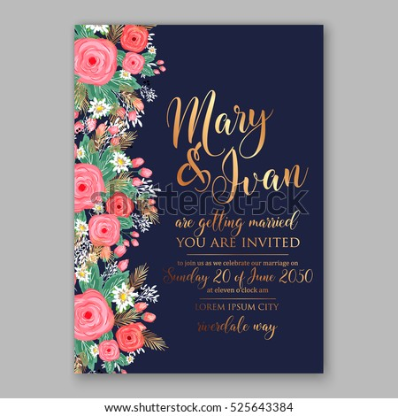 wedding invitation printable template with floral wreath or bouquet of rose flower and daisy romantic pink - Wedding Invitation Design